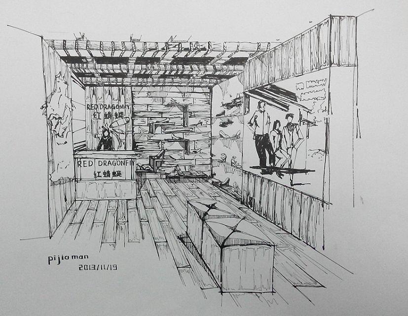 原创作品:室内设计手绘钢笔表现