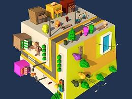 C4D小城市场景建筑