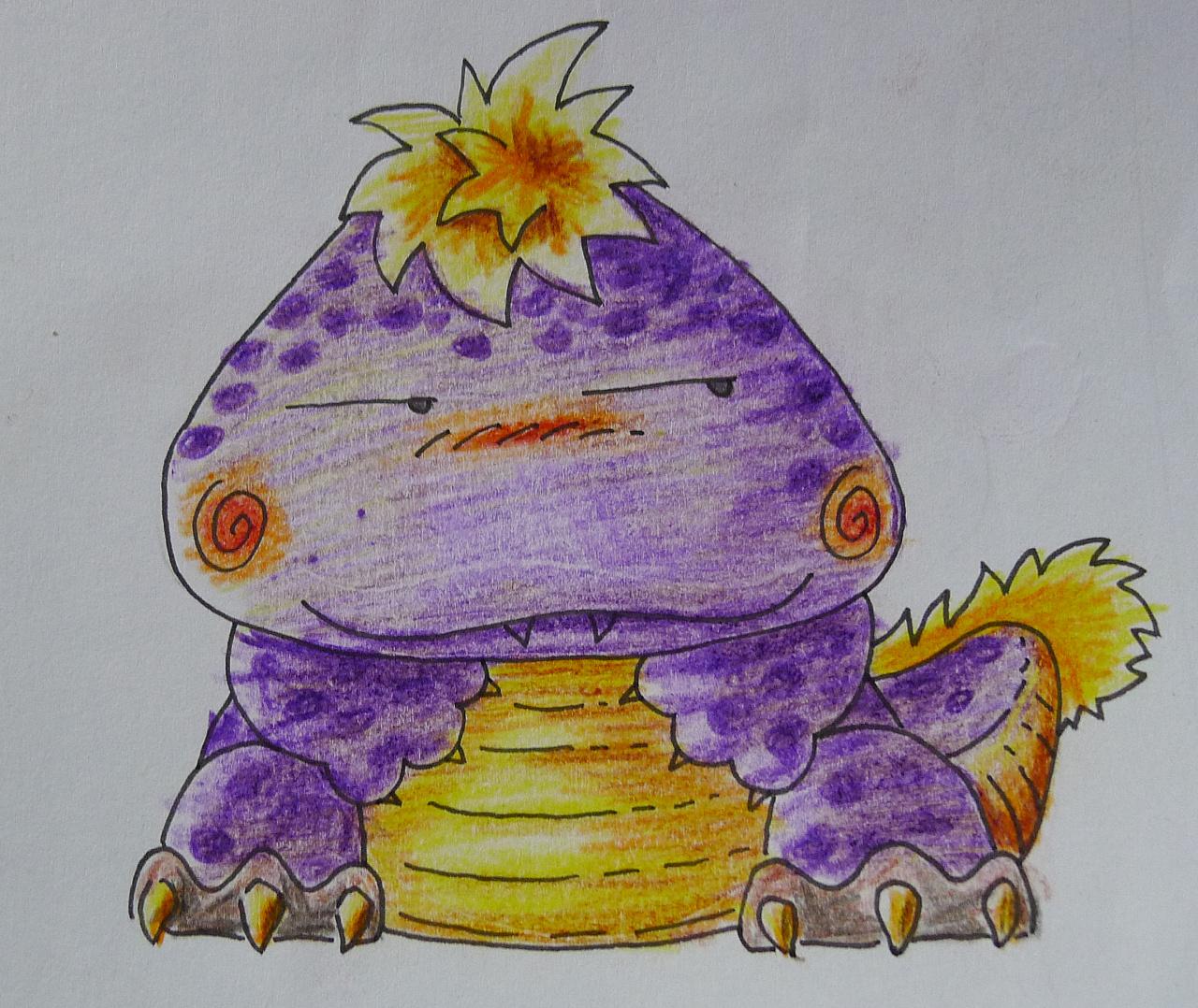 是恐龙吧,喂,是恐龙吧……胖成这样……紫色和黄色彩铅配色练习.