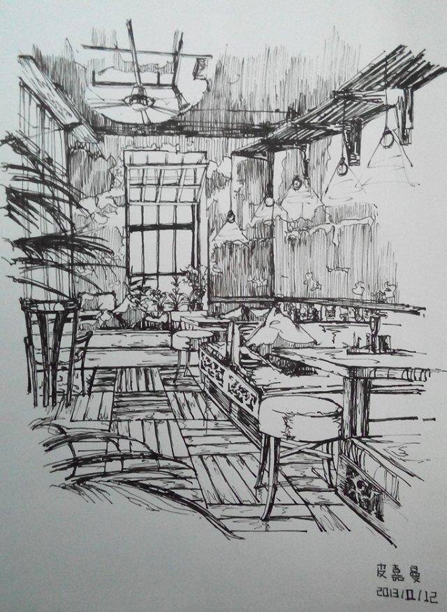 室内设计手绘钢笔表现|室内设计|空间/建筑|pijiaman