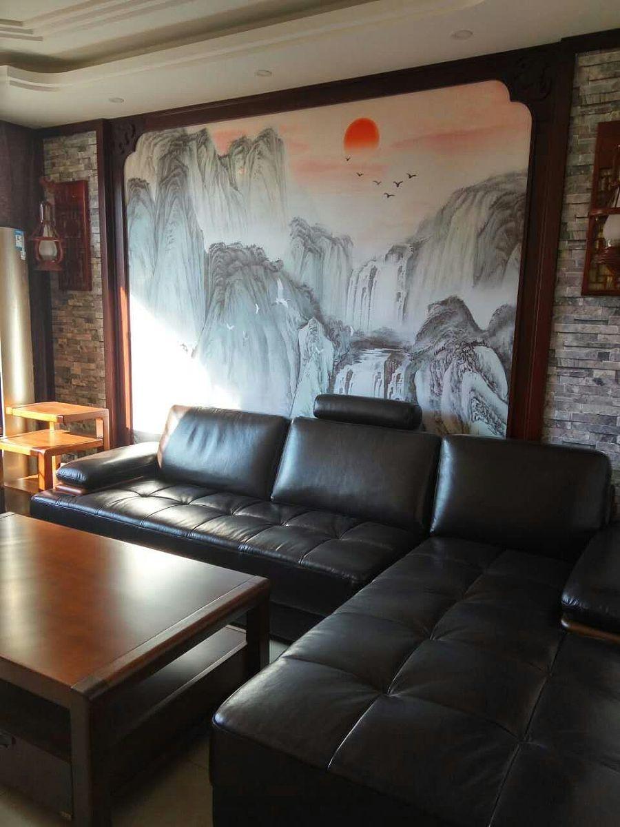 山西太原墙绘手绘墙画饭店手绘墙画餐厅背景壁画沙发