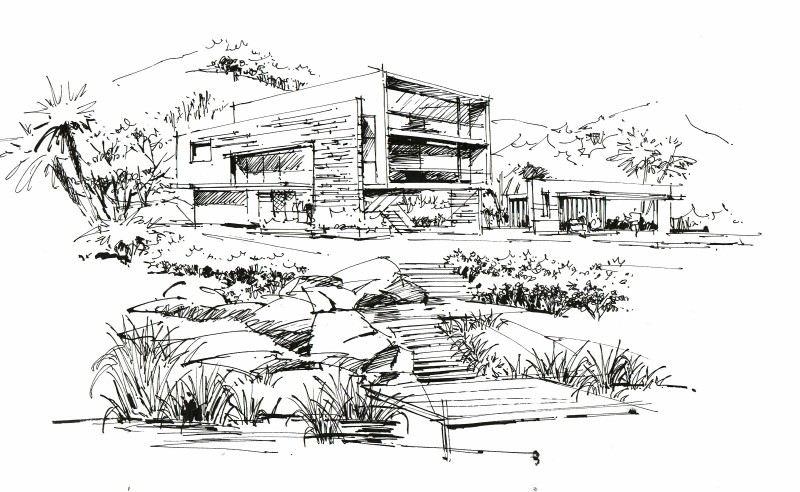 建筑画,手绘图片,手绘效果图,马克笔上色,建筑设计,室内设计,风景园