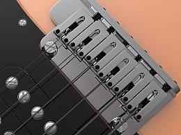 Fender stratocaster 建模貼圖渲染綜合練習