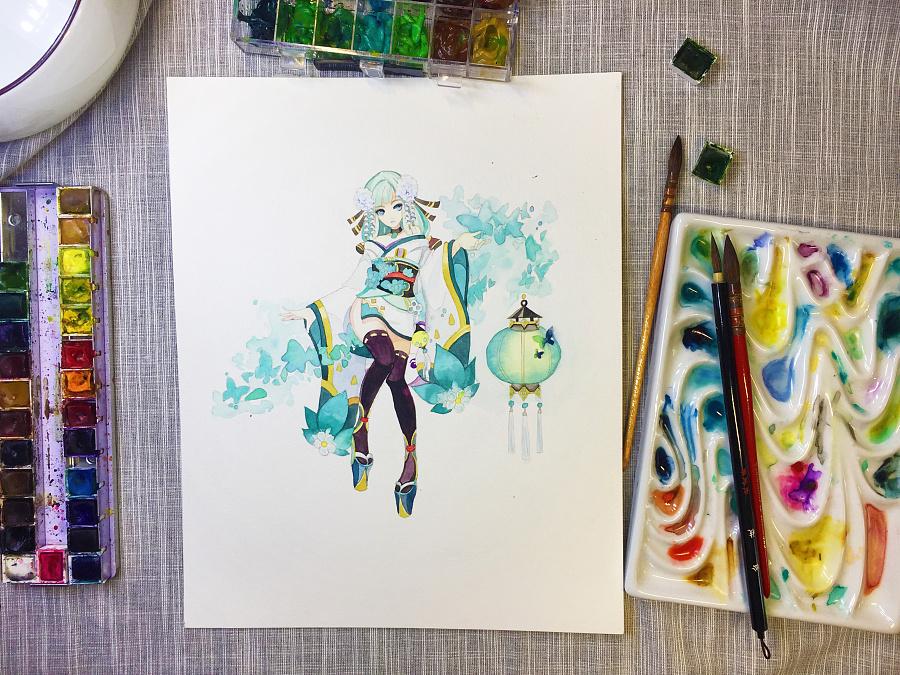 水彩手绘--阴阳师 灯姐