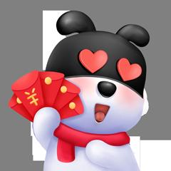 超力熊新年春节拜年头像3D华侨可爱立体喜表情搞笑图图片