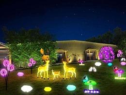 广场绿植灯光美陈亮化素材由铭星工厂专业设计制作安装