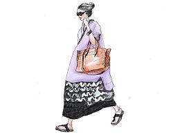 【驴大萌彩铅教程290】时装画手绘 街拍连衣裙