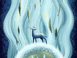绕圈圈画 · 鹿与洪流中的精灵