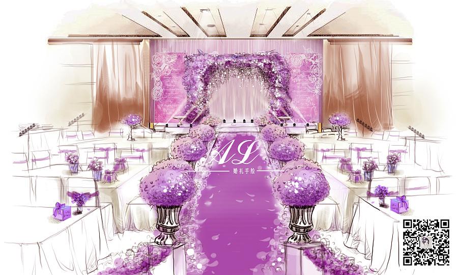 夢幻森系婚禮手繪圖