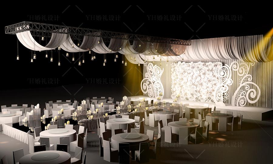 yhwedding婚礼设计白色欧式舞台花墙蜡烛灯|舞台美术