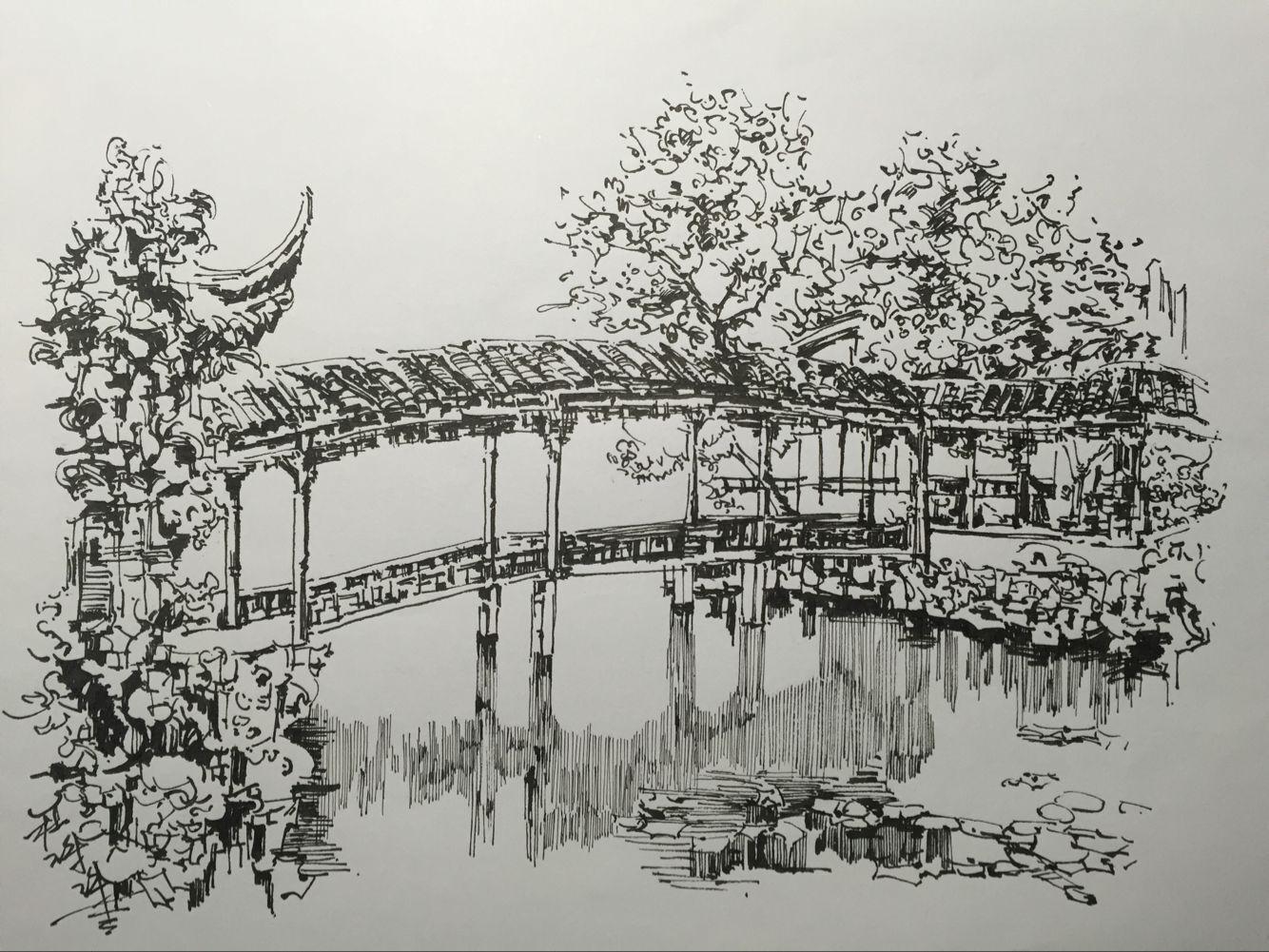 杭州写生手绘|空间|景观设计|讹兽 - 原创作品 - 站酷
