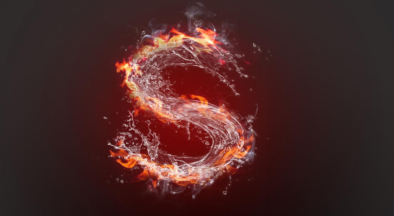水火交融字体设计图片