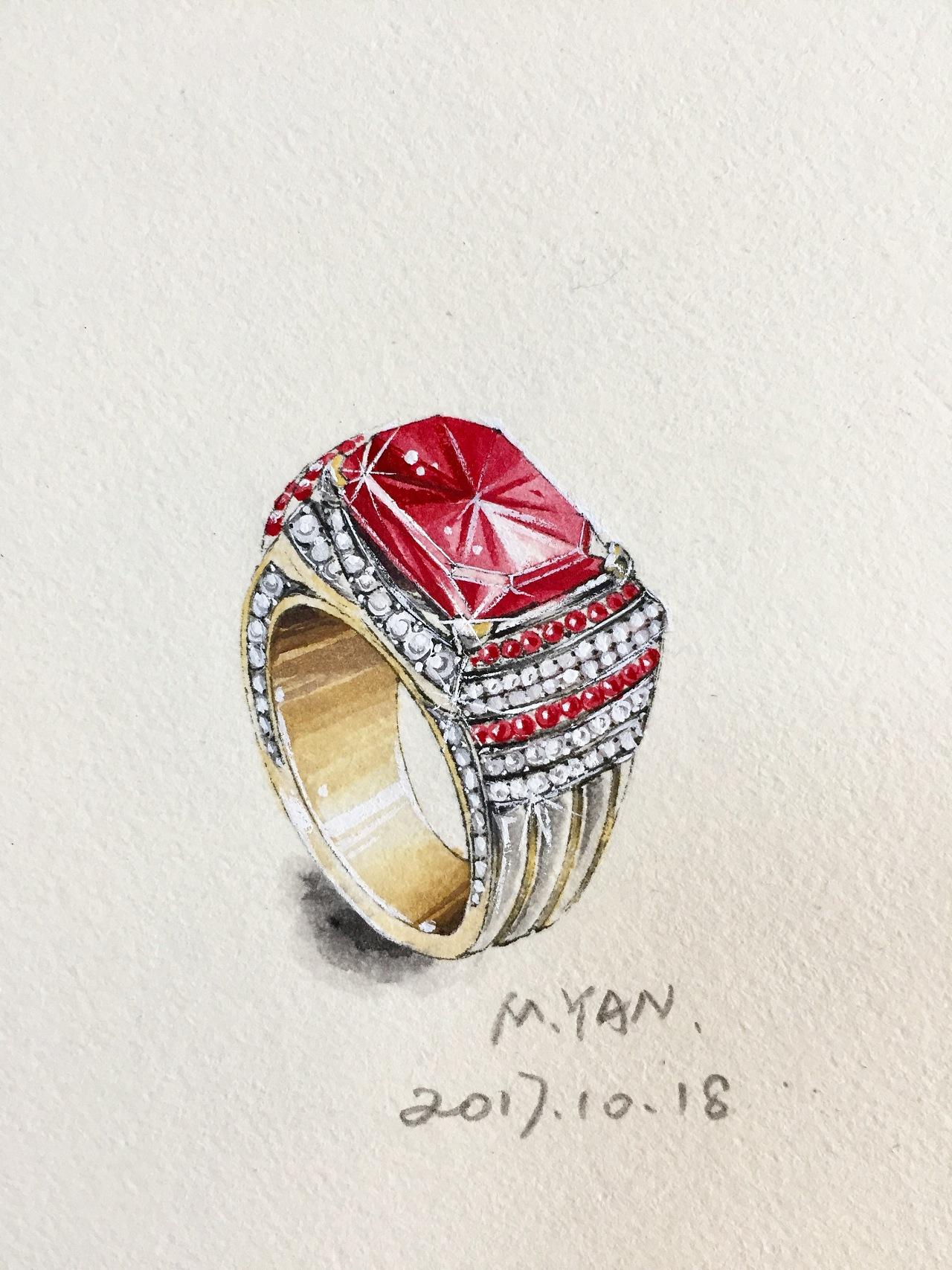 红宝石戒指设计手绘