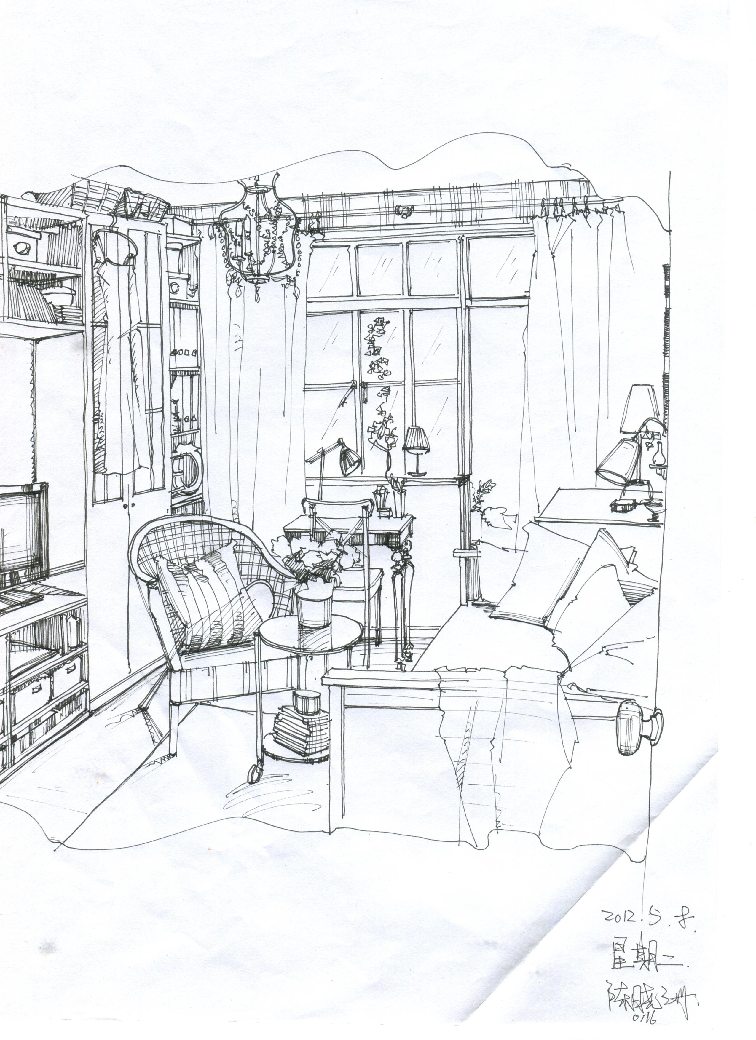 户型 户型图 简笔画 平面图 手绘 线稿 2550_3509 竖版 竖屏