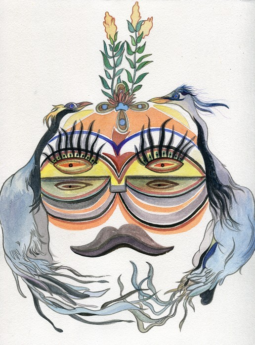 手绘封面插画(最新作) 面具