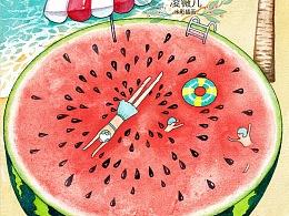 24节气海报公众号广告推图,小满节,夏至,小暑节气插画,