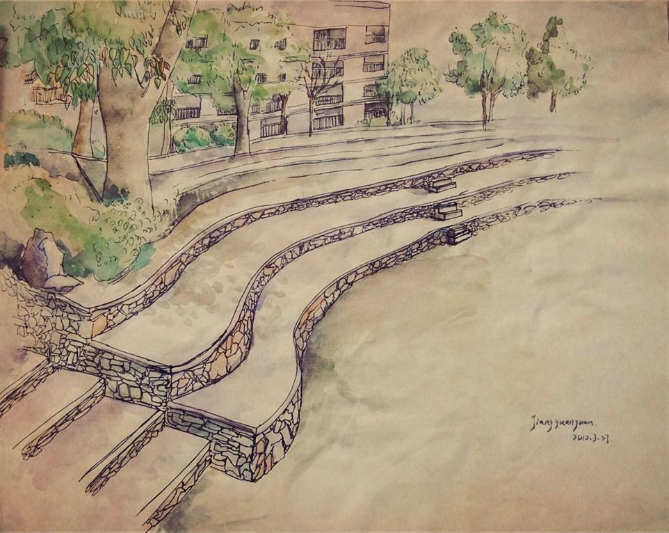 校园水彩手绘图片