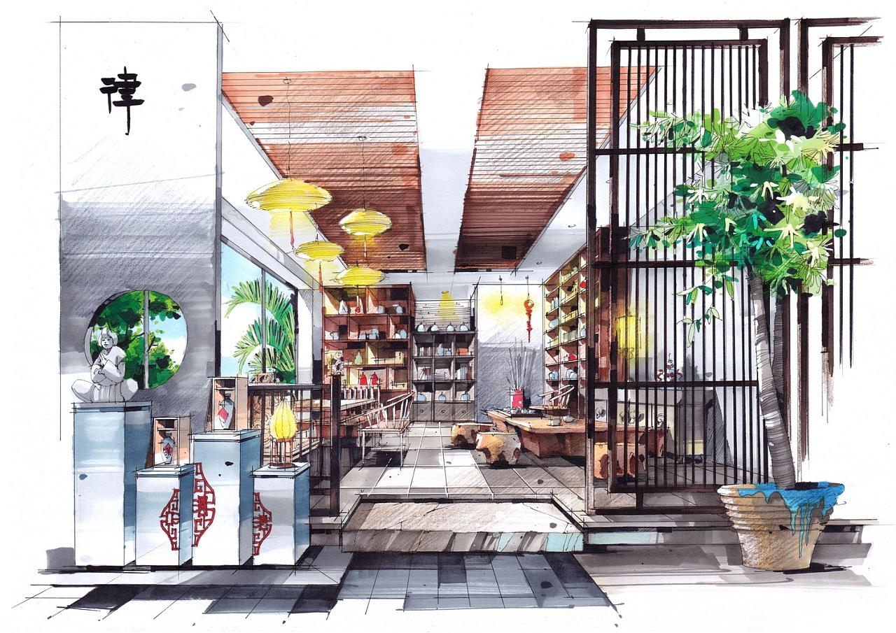 室内手绘作品|空间|室内设计|吕律谱 - 原创作品