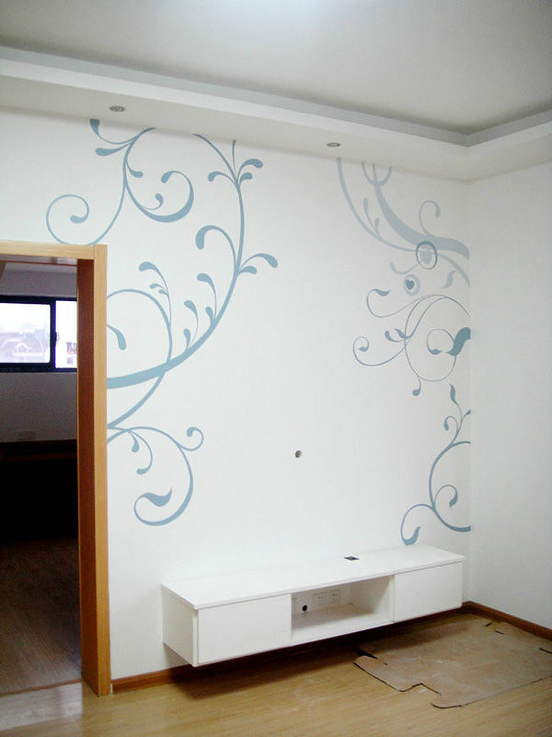 电视墙壁手绘图