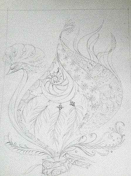 纯黑白画,原本是打算以花卉为素材画的,几根线条图片