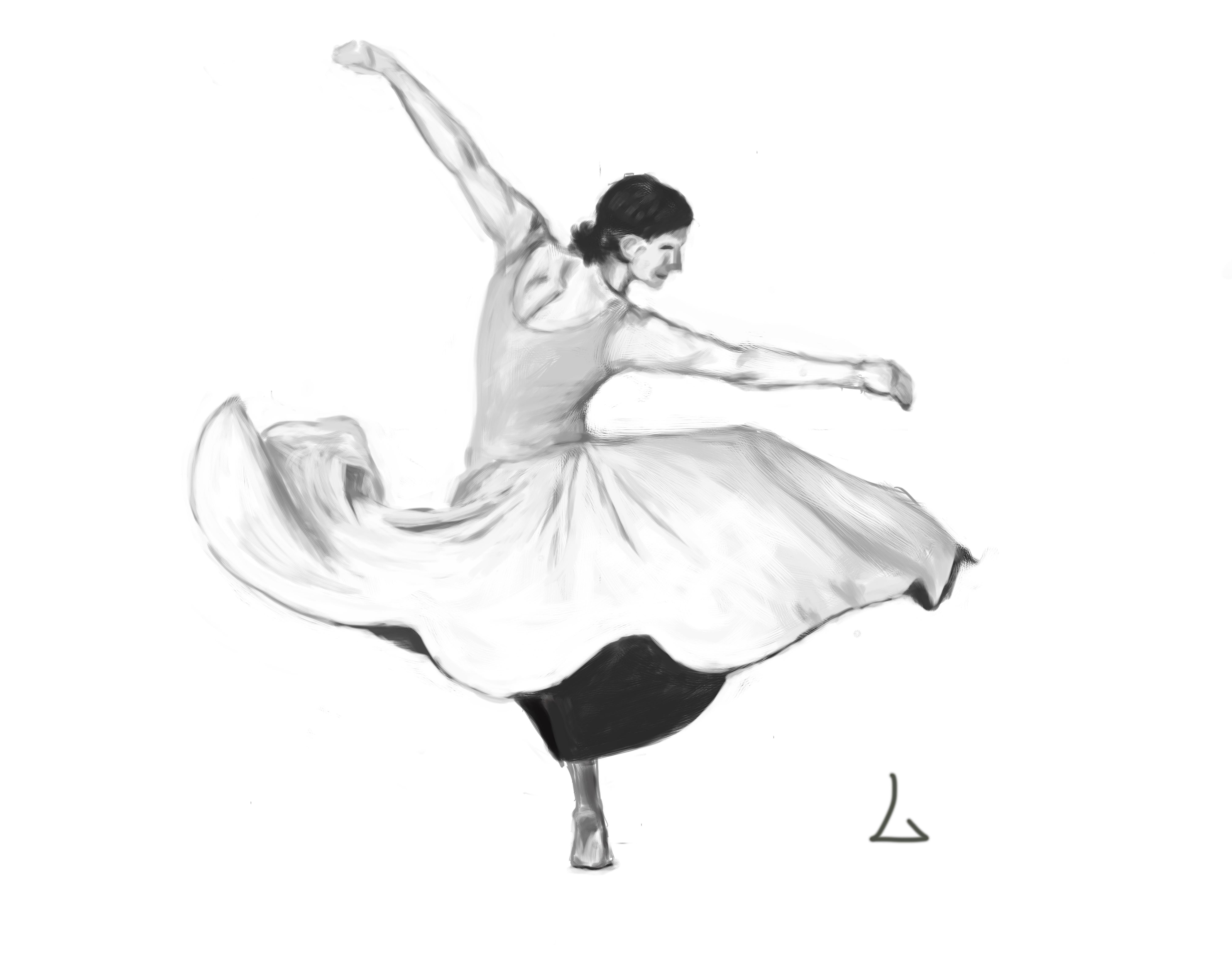 旋转的舞者手绘练习