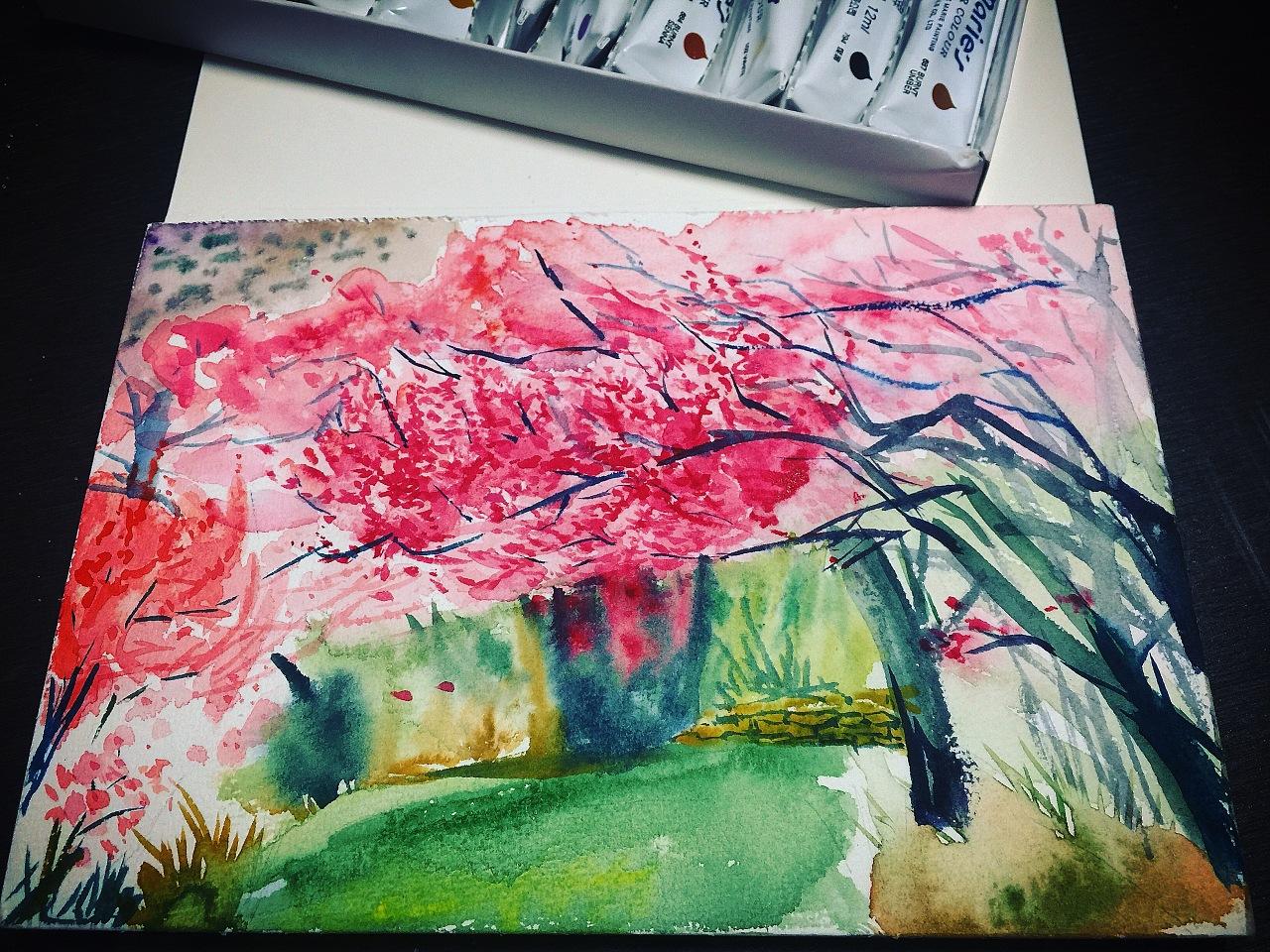 手绘丙烯和水彩