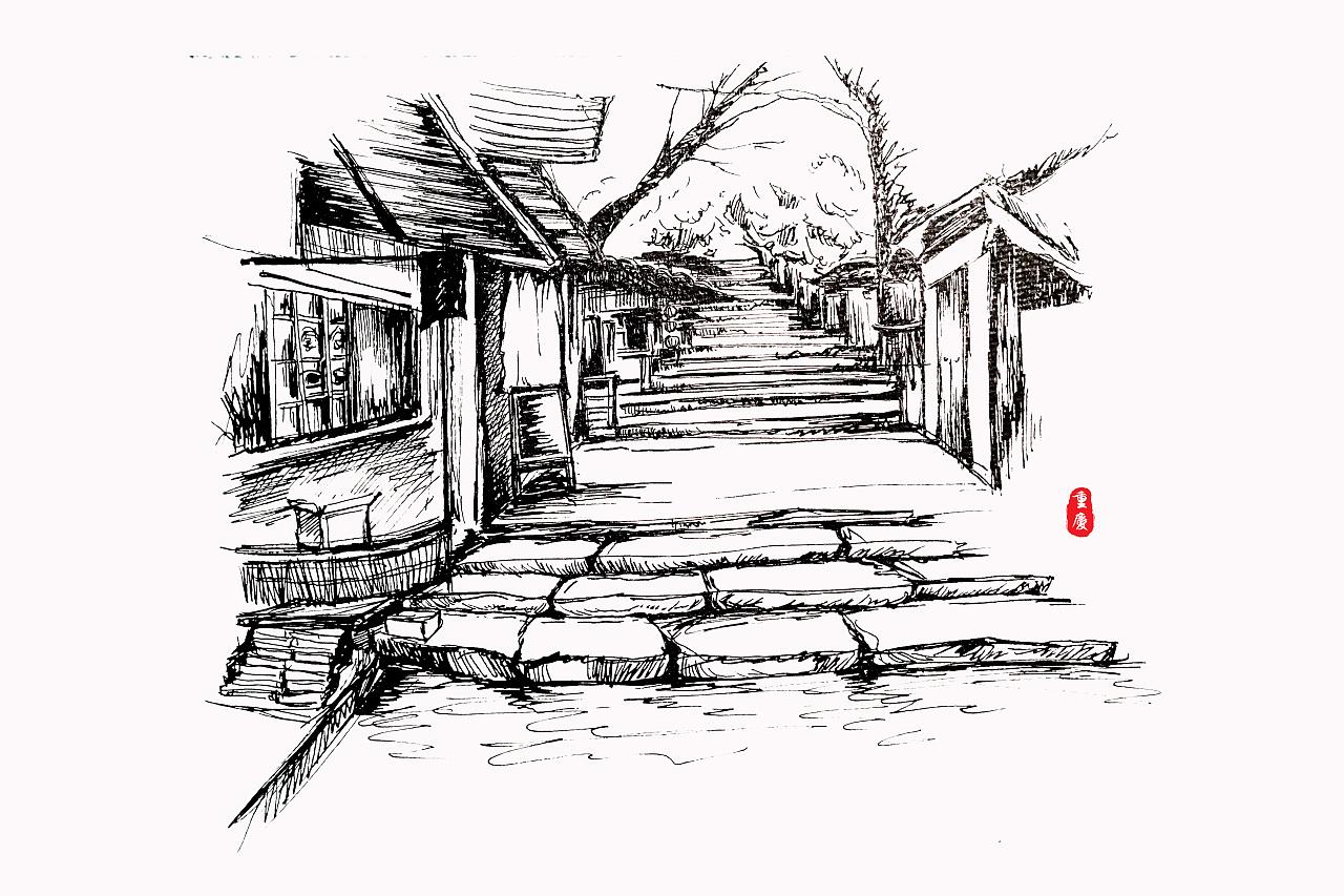 重庆手绘壁纸素描