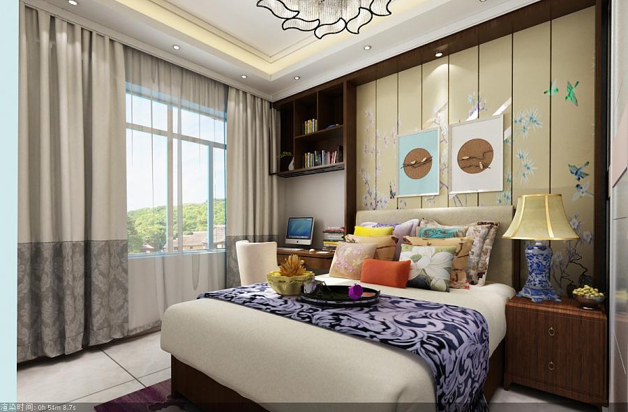 新中式|室内设计|蓝色/建筑|梦魇空间-原创v蓝色平面设计师月收入30万图片