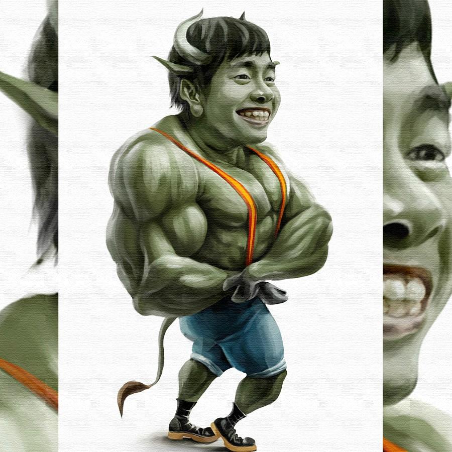 绿巨人彩铅手绘图片