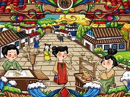 唐风场景端午节插画