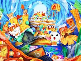 包图网4周年庆典插画海报