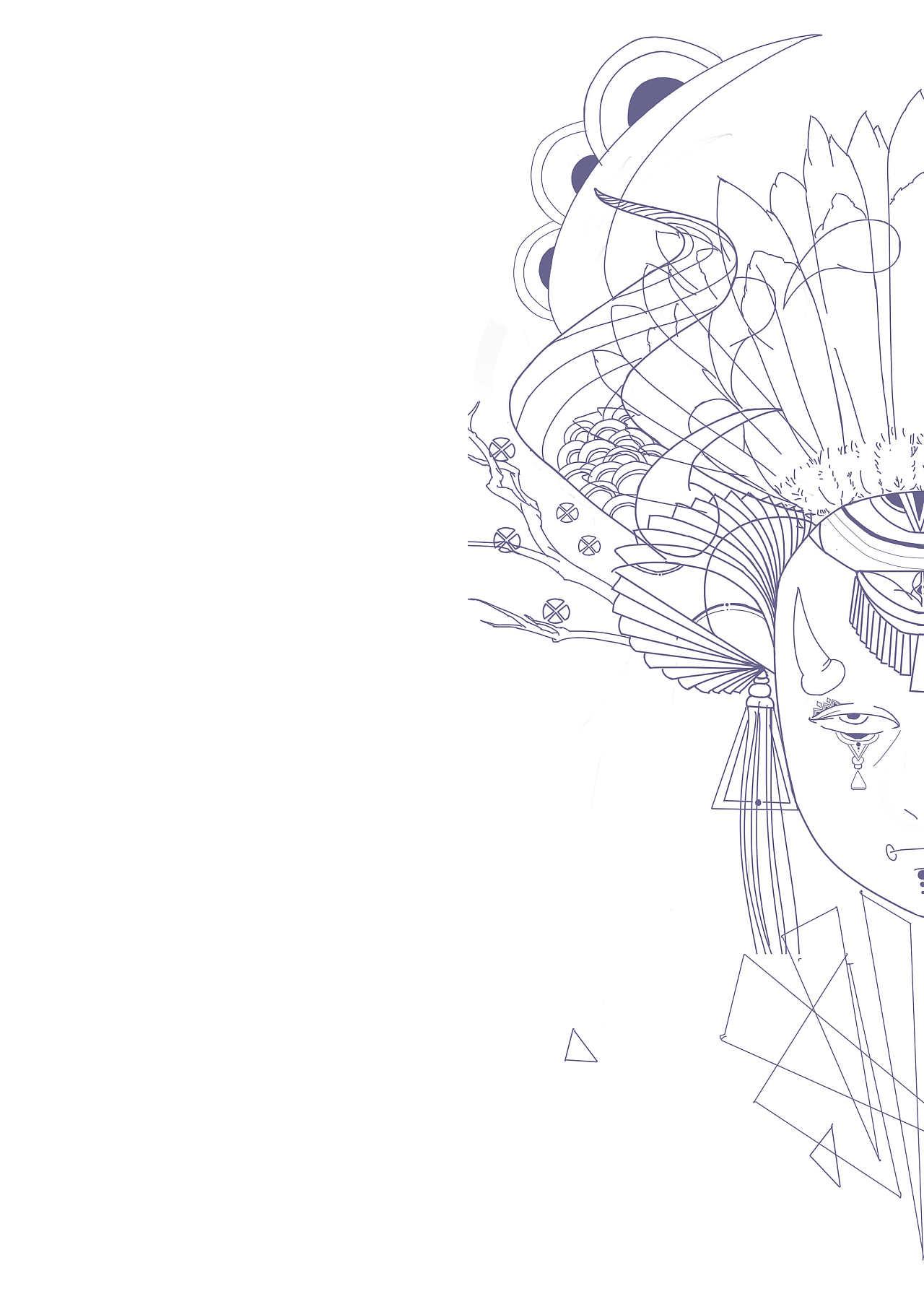 半面妆图片高清手绘线稿