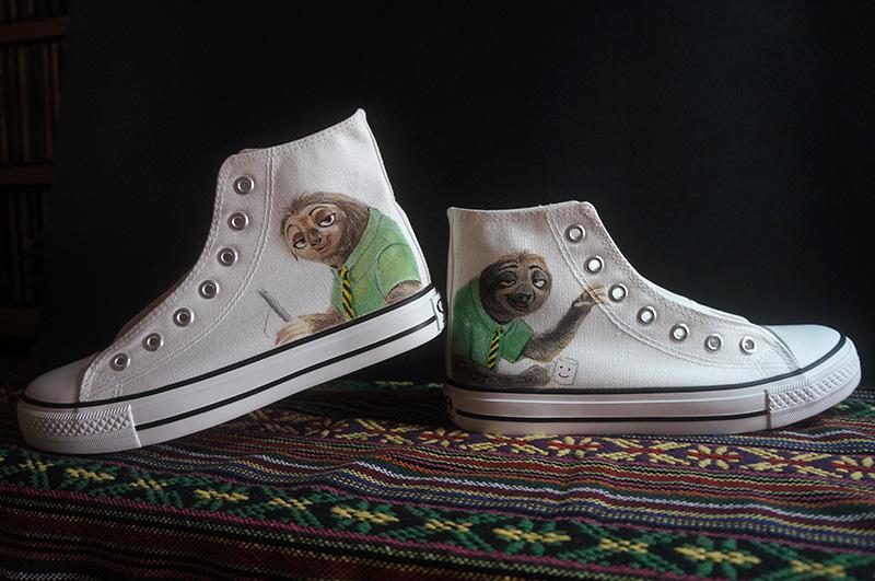 原创手绘高帮帆布鞋—疯狂动物城