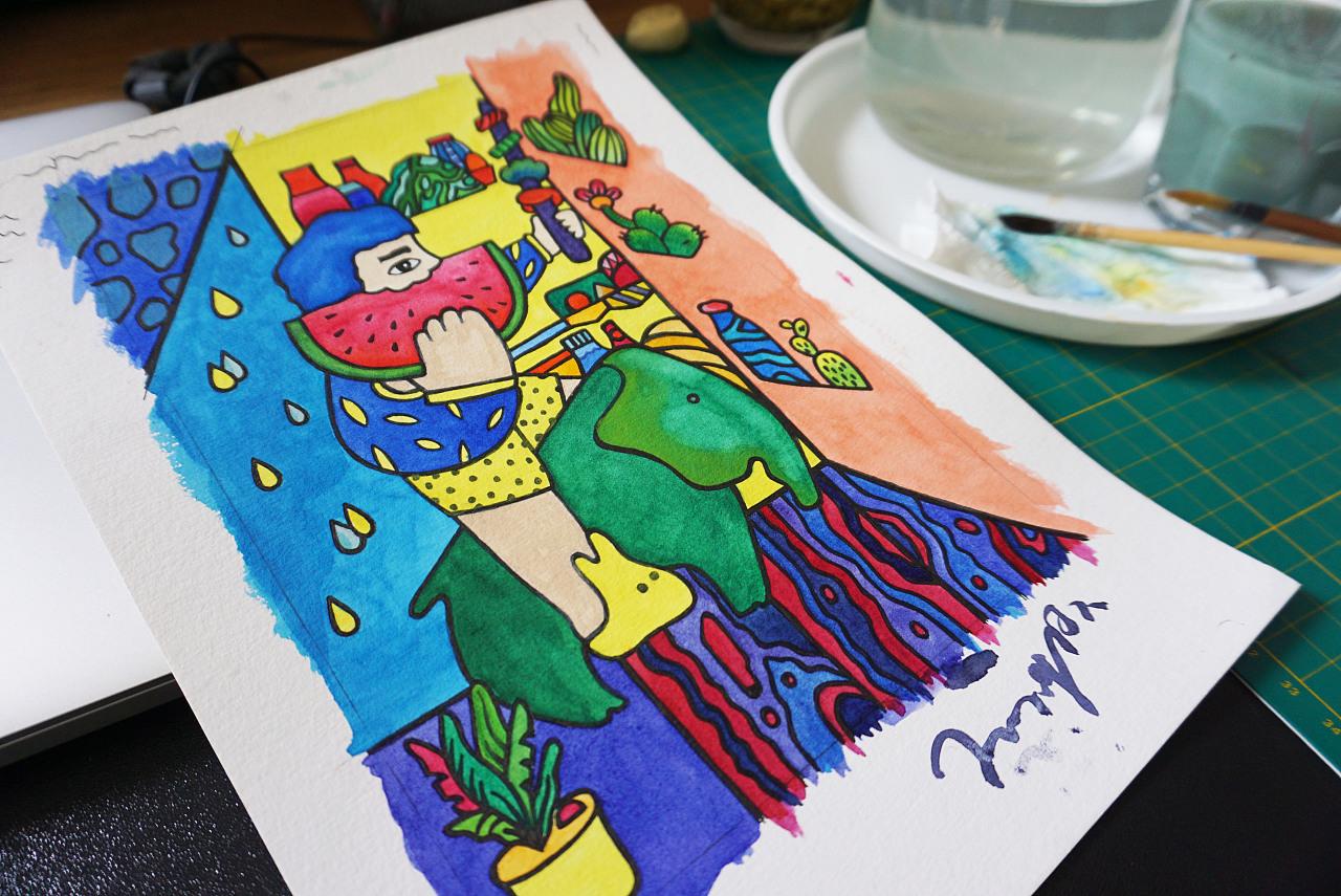 夏日西瓜手绘水彩插画