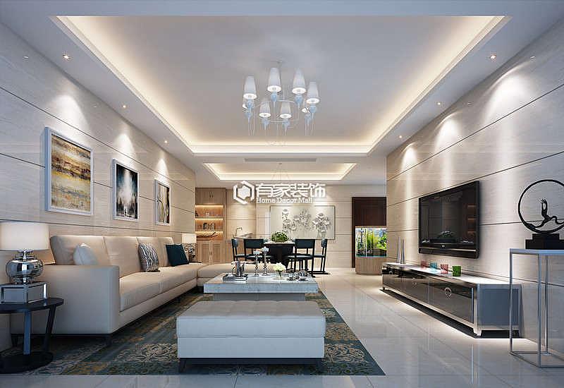 厦门蓝湾国际三居114平户型现代简约风格装修效果图