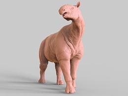 巨犀3D打印模型雕像