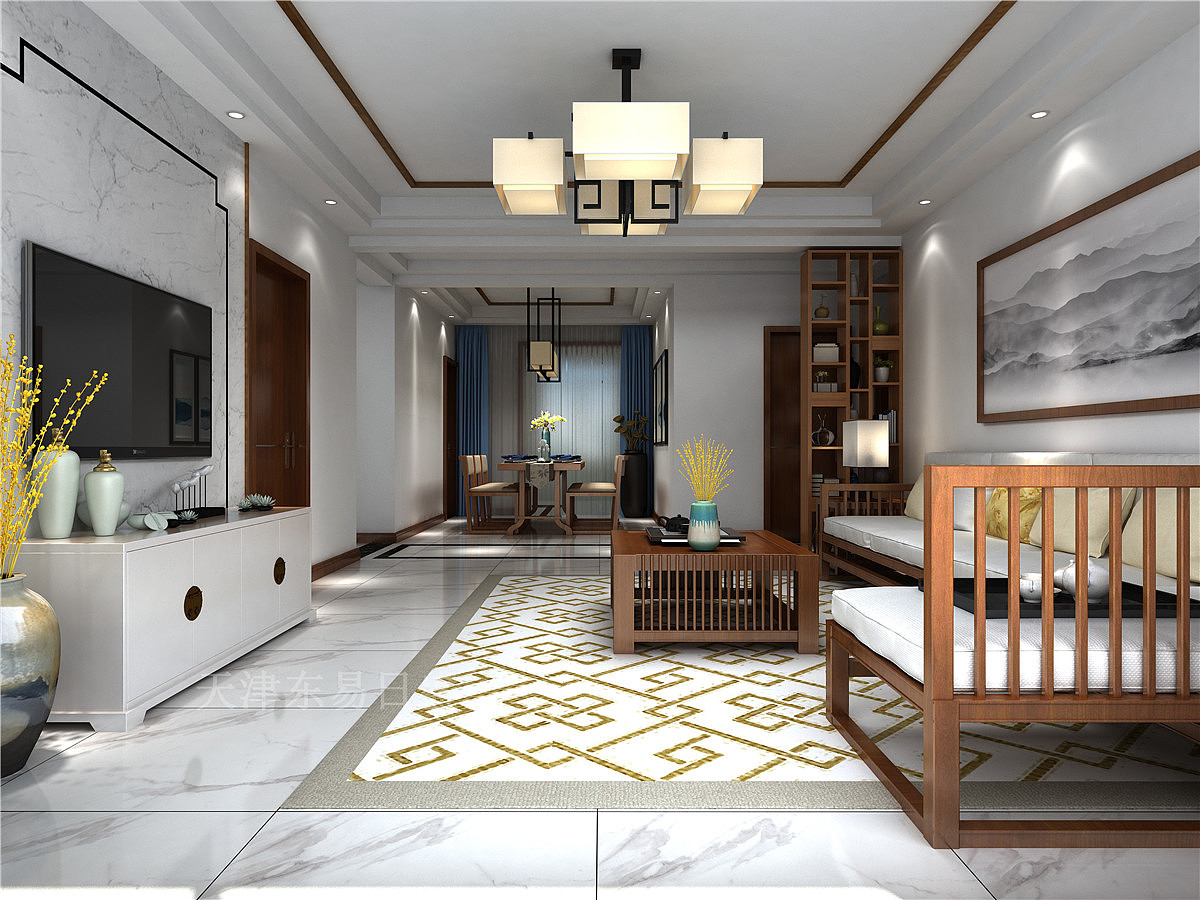 146平新中式风格三室装修,典雅华贵,生动精致!图片