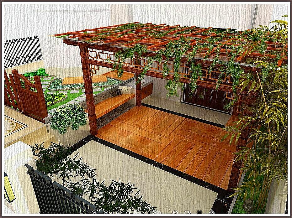 赣州爱丁堡庭院景观设计(廊架),木板贴图未用防腐木贴图替代,懒得处理