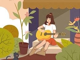 弹吉他女孩插画练习