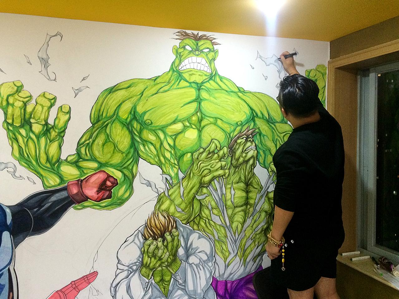 健身房墙绘复仇者联盟系列|插画|涂鸦/潮流|nowzki
