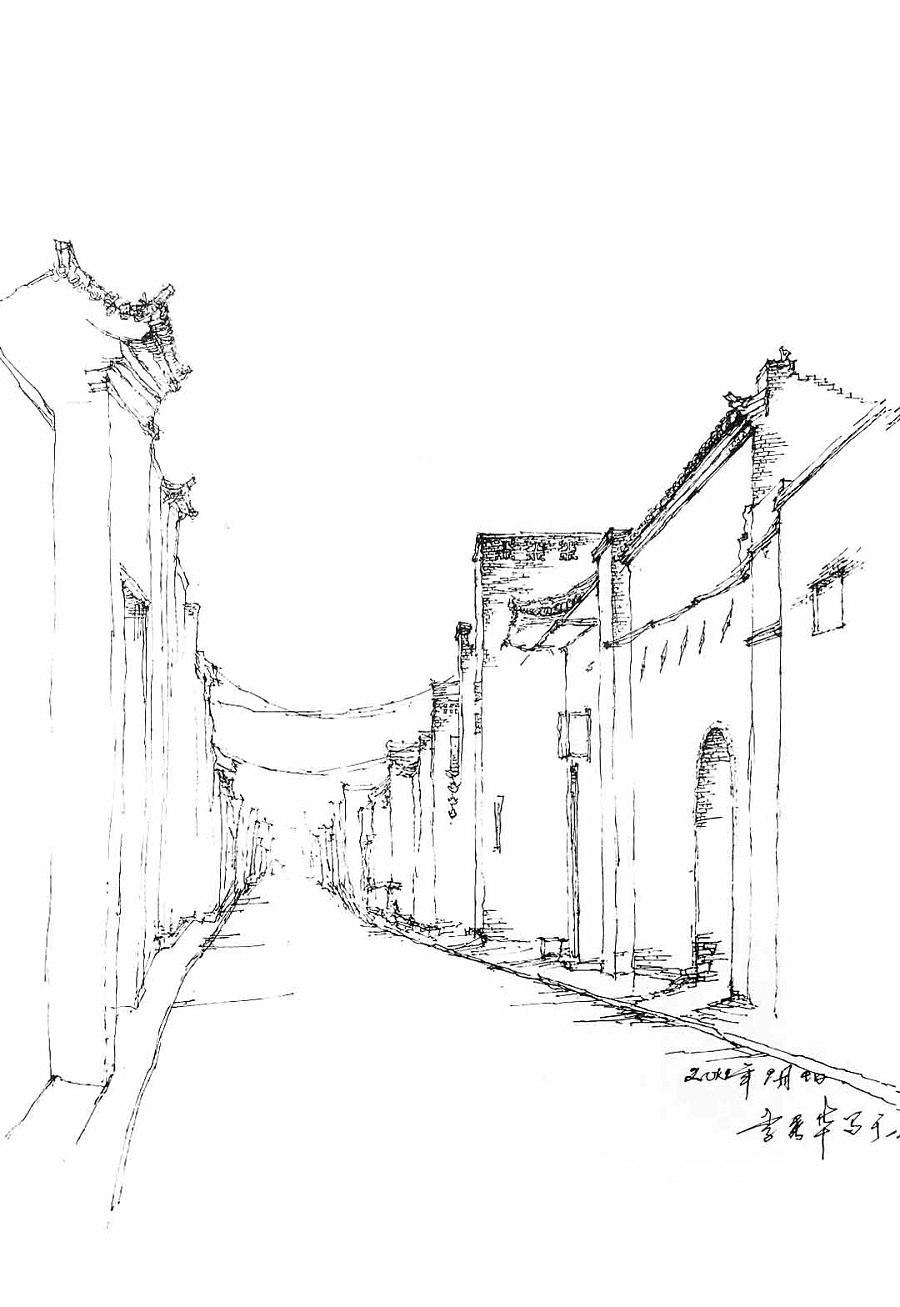 手绘旅游图平遥古城图片