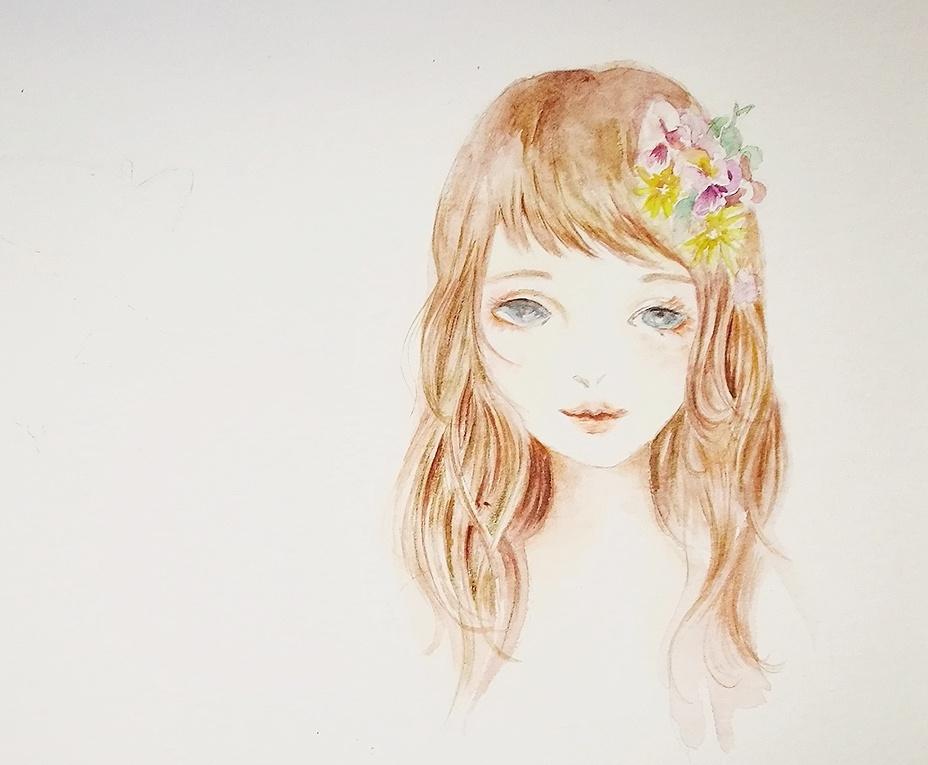 水彩日系少女头像
