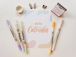 2020 Lettering Calendar 新年月历实物