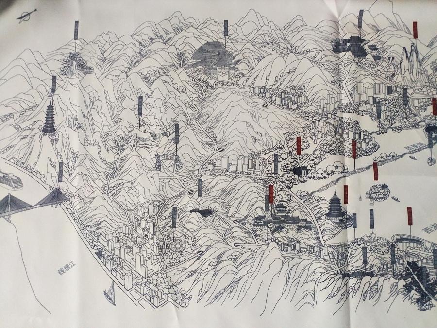 杭州西湖旅游景点手绘地图白描线描色彩建筑绘画地图