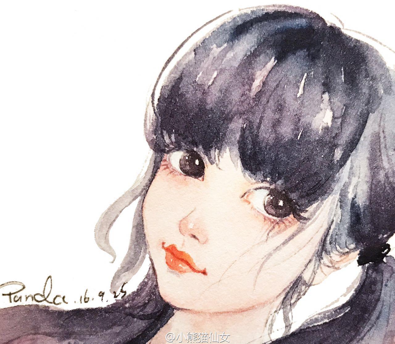 【小熊猫】水彩手绘人物水彩教程人物卡通头像手绘水彩步骤