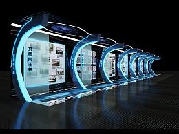 科技院士走廊设计展示展览设计3d效果图图片