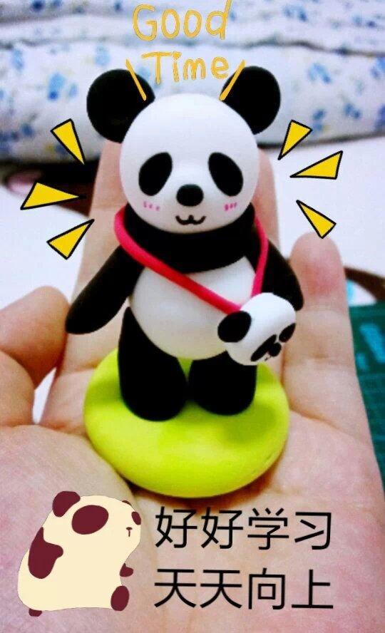 材料:超轻粘土          非常喜欢熊猫这种蠢萌蠢萌的生物