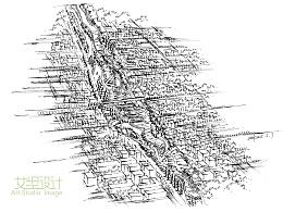 滨水空间鸟瞰图线稿