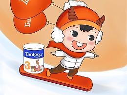 坦图奶粉12月品牌插画儿童母婴圣诞节跨年元旦天蝎座