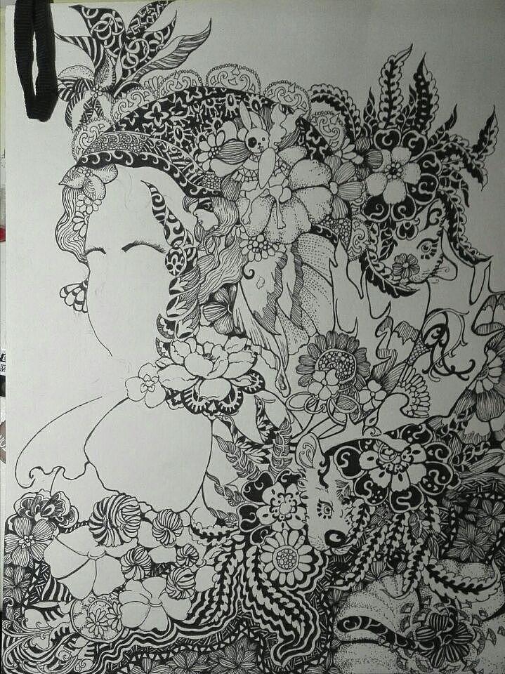 奇幻唯美黑白手绘